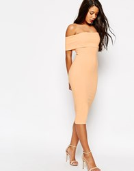 Asos Deep Off The Shoulder Bardot Midi Body Conscious Dress Pale Blue