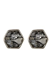 Melrose And Market Crushed Hexagon Druzy Stud Earrings Gray