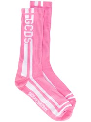 Gcds Logo Striped Socks Pink Purple