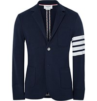 Thom Browne Slim Fit Striped Loopback Cotton Jersey Blazer Blue