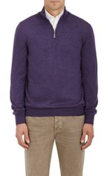 Barneys New York Men's Virgin Wool Mock Turtleneck Zip Front Sweater Purple