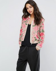 Needle And Thread Embroidery Rose Bomber Jacket Rose Beige Black