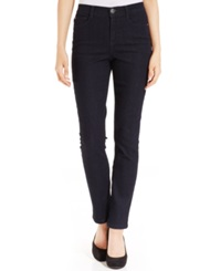 Style And Co. Petite Jeans Tummy Control Slim Leg Black Blue Wash