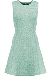 Issa Claudia Embroidered Stretch Ponte Mini Dress Green