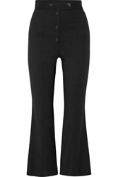 Proenza Schouler Cropped Stretch Wool Flared Pants Black
