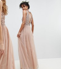 Maya Sleeveless Sequin Bodice Tulle Detail Maxi Bridesmaid Dress With Cutout Back Brown