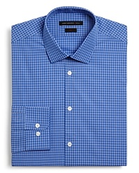 John Varvatos White Check Dress Shirt Slim Fit Empire Blue