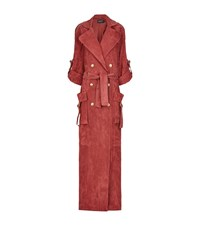 Balmain Suede Trench Coat Female Pink
