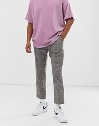 Weekday Charlie Check Trousers In Beige Grey