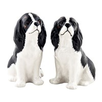 Quail Ceramics Cavalier King Charles Spaniel Salt And Pepper Shakers Tri