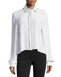 Zac Zac Posen Piped Button Down Blouse White Black