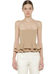 Brock Collection Flared Cotton Poplin Bustier Beige