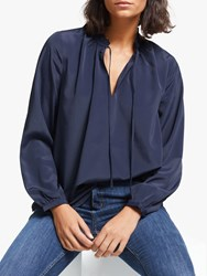 John Lewis Collection Weekend By Tie Neck Easy Blouse Navy