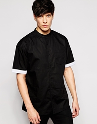Another Influence Long Line Short Sleeve Shirt With Grandad Collar Black