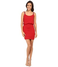 Gabriella Rocha Sequin Strap Blouson Banded Skirt Dress Cherry Red Women's Dress