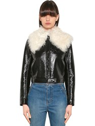 Courreges Shealring And Faux Patent Leather Jacket