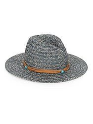 Saks Fifth Avenue Faux Suede Band Straw Hat Multi