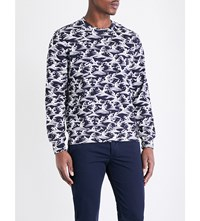 Sandro Wave Print Cotton Jersey Sweatshirt Navy Blue