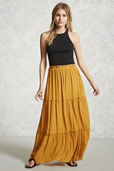 Forever 21 Tiered Maxi Skirt Mustard