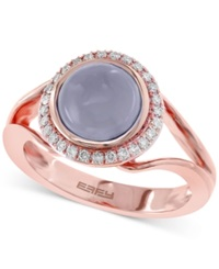 Effy Collection Effy Chalcedony 1 4 5 Ct. T.W. And Diamond 1 7 Ct. T.W. Round Style Ring In 14K Rose Gold