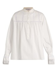 Sonia Rykiel Lace Trimmed Cotton Shirt White