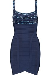 Herve Leger Embellished Bandage Mini Dress Midnight Blue