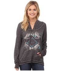Rock And Roll Cowgirl Long Sleeve Pullover Hoodie 48H4244 Charcoal Women's Sweatshirt Gray
