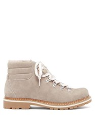 Montelliana Marlena Shearling And Nubuck Hiking Boots Dark Grey