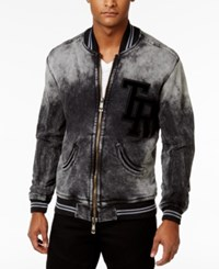 True Religion Men's Decayed Cotton Varsity Bomber Used Black