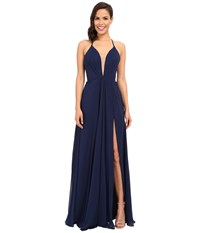Faviana Chiffon V Neck Gown W Full Skirt 7747 Navy Women's Dress