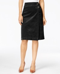 Charter Club Faux Wrap Corduroy Buckle Skirt Only At Macy's Deep Black