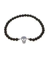 Lord And Taylor Black Bead Cz Skull Stretch Bracelet