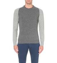 Orlebar Brown Palmer Colour Block Wool Jumper Charcoal Mid Grey