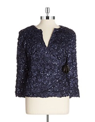 Cachet Plus Sequined Bolero Jacket Navy