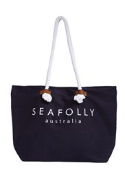 Seafolly Carried Away Ship Sail Tote Indigo