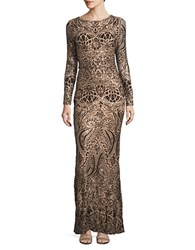 Betsy And Adam Embellished Column Gown Bronze