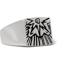 Saint Laurent Engraved Silver Signet Ring Silver