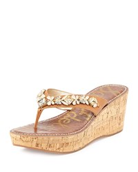 Sam Edelman Randi Jeweled Wedge Thong Sandal Soft Saddle