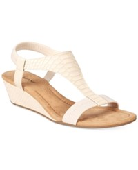 Alfani Women's Vacanzaa Wedge T Strap Sandals Only At Macy's Women's Shoes Pale Snake