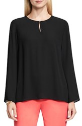 Vince Camuto Women's Bell Sleeve Keyhole Blouse Rich Black