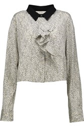 Marni Cropped Printed Stretch Silk Shirt Light Gray