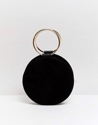 Miss Selfridge Circle Across Body Bag With Removeable Strap In Black