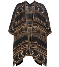 Polo Ralph Lauren Knitted Silk And Linen Poncho Brown