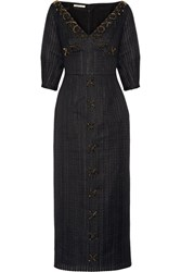 Emilia Wickstead Eden Embellished Organza Midi Dress Black