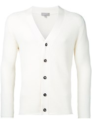 Margaret Howell Ribbed V Neck Cardigan Men Wool M White