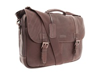Kenneth Cole Reaction Colombian Leather Flapover Portfolio Computer Case Dark Brown Computer Bags