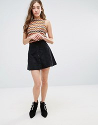 Glamorous Button Front Skirt Black Corduroy