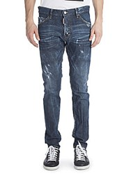 Viktor And Rolf Cool Guy Coated Resin Distressed Jeans Blue