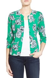 Halogenr Petite Women's Halogen Floral Print Cardigan Green Blue Highlight Floral