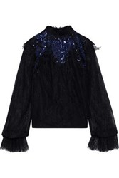 Costarellos Woman Sequin Embellished Chantilly Lace Blouse Black